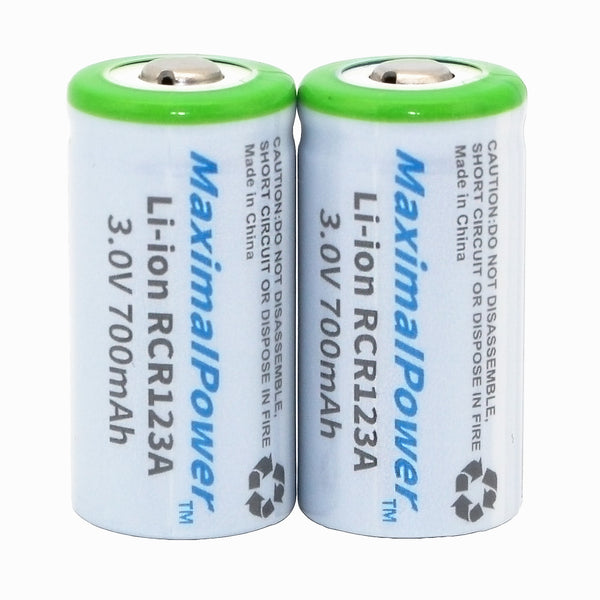 Maximal Power RCR123A Rechargeable Li-ion battery 700mAh S10, M10, CR16340, 17335 (2 per pack)