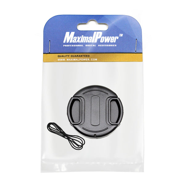MaximalPower 55mm Center Pinch Front Lens Cap and Cap Keeper Leash for Canon Nikon Sony DSLR Cameras