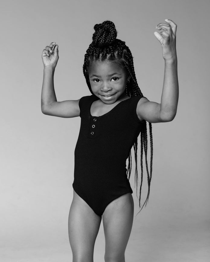 A young girl in The Kelly leotard by Inside Out.