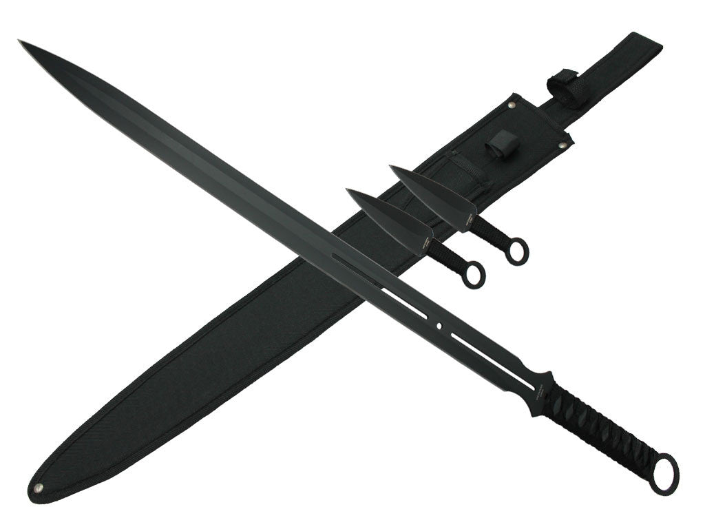 "28"" Tactical Machete with 2 6"" Throwing Knives."