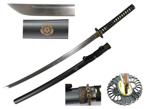 "Musha 41"" 1045 hand forged carbon steel, muku-gitae, razor sharp engrave on scab"
