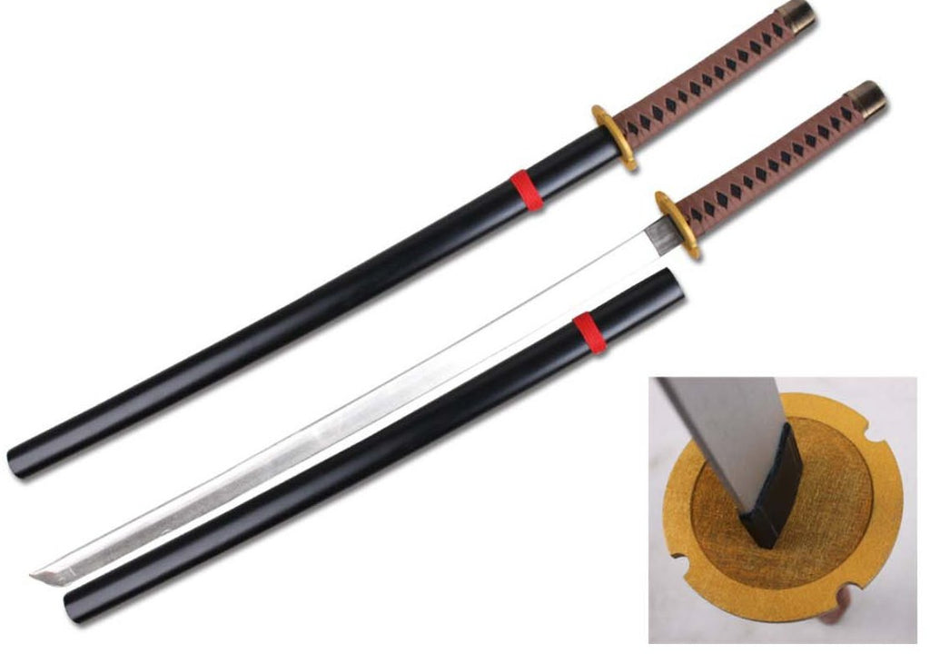 "39"" Foam Samurai Sword Brown/Black Handle w/ wood scabbard"