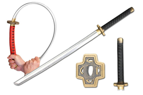 "39"" Foam Samurai Sword Black Handle w/ Brass Colored Fitting"