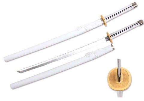 "39"" Foam Samurai Sword White/black Handle w/ wood scabbard"