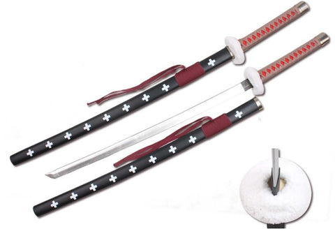 "39"" Foam Samurai Sword Tan/Red Handle w/ wood scabbard"
