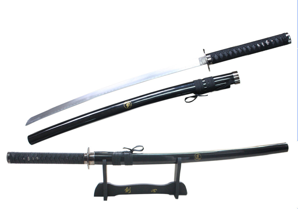 "40 1/2"" Reverse blade black samurai sword with stand"