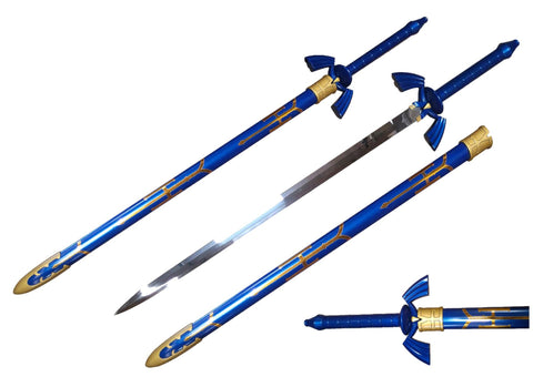 "39"" Fantasy Sword Blue Handle & Scabbard w/ Gold Accents"