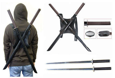 Leonardo Dual Ninja Swords w/ Back Carrying Scabbar