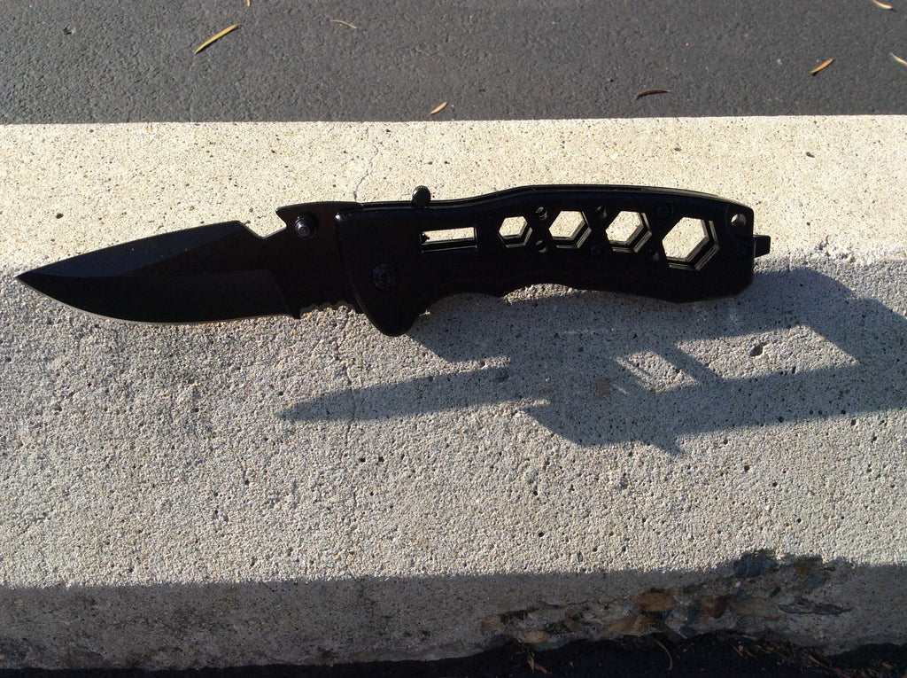 Spring Assist Black Wrench Knife