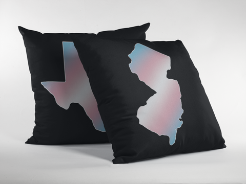 State Pride Transgender Flag Gradient Premium Pillow - Black