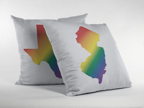 State Pride Rainbow Gradient Premium Pillow - White