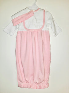 Pink and white infant gown