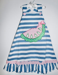 Blue Stripe Watermelon  Dress