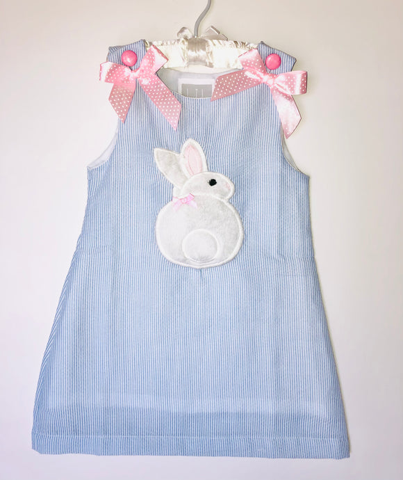 Blue seersucker bunny dress