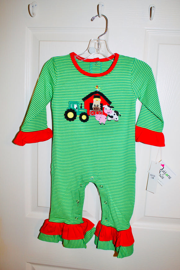 Green stripe farm romper