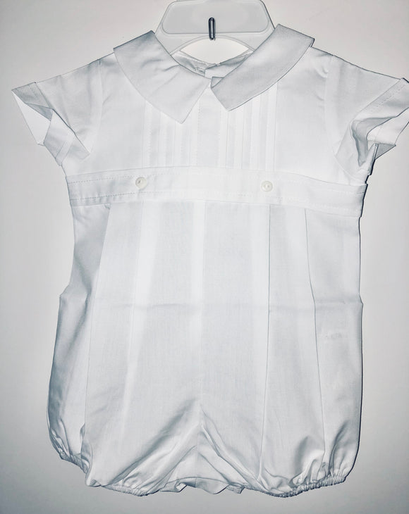 White Pleated Boy Romper