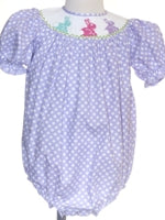 Purple dot Smocked Bunny