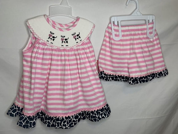 Smocked Moo Cow short set