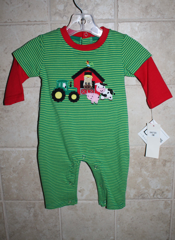 Boys Green Farm Romper