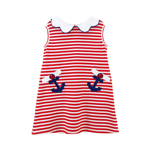 Red Stripe Anchor dress