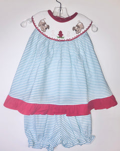 Smocked Puppy BLoomer Set