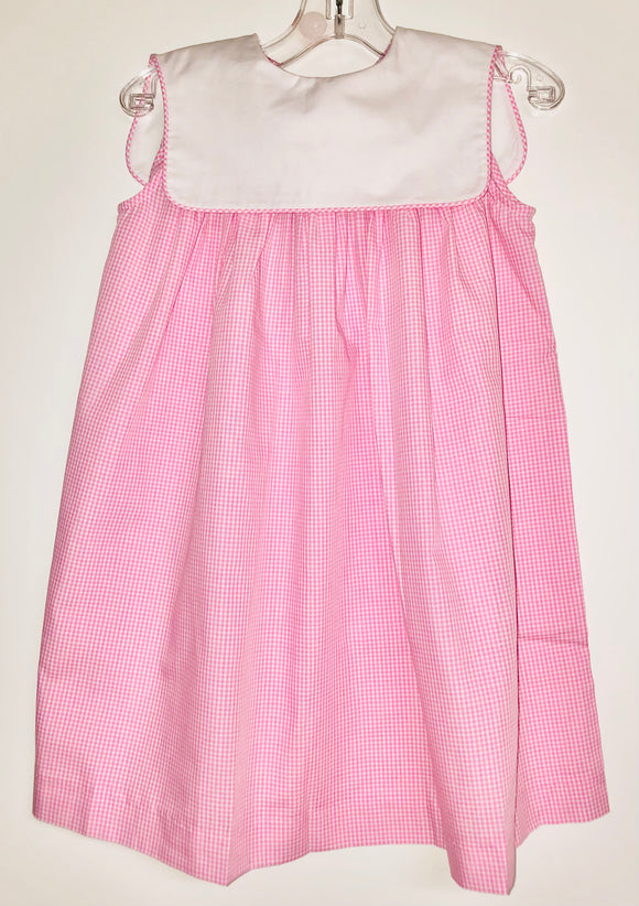 Pink check dress with collar
