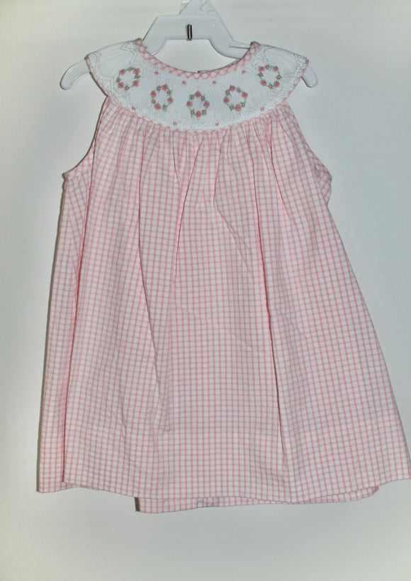 Pink smocked flower wreath dress