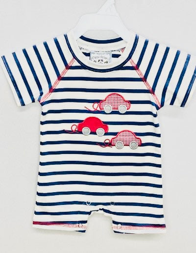 Navy Stripe car romper