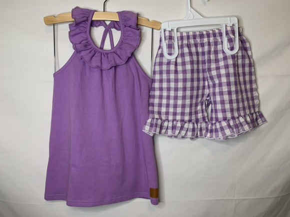 Purple gingham check short set