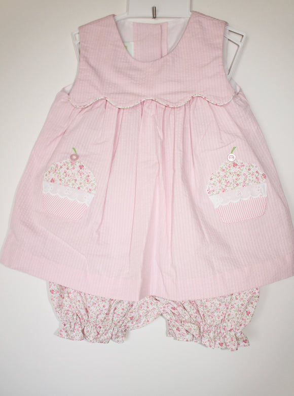 Pink cupcake bloomer set
