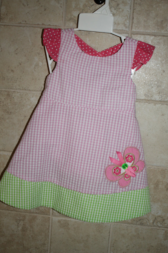 Butterfly Pink check seersucker dress