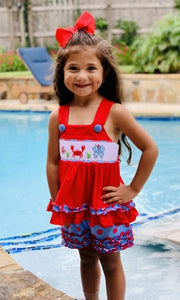 Sea Life smocked girls short set