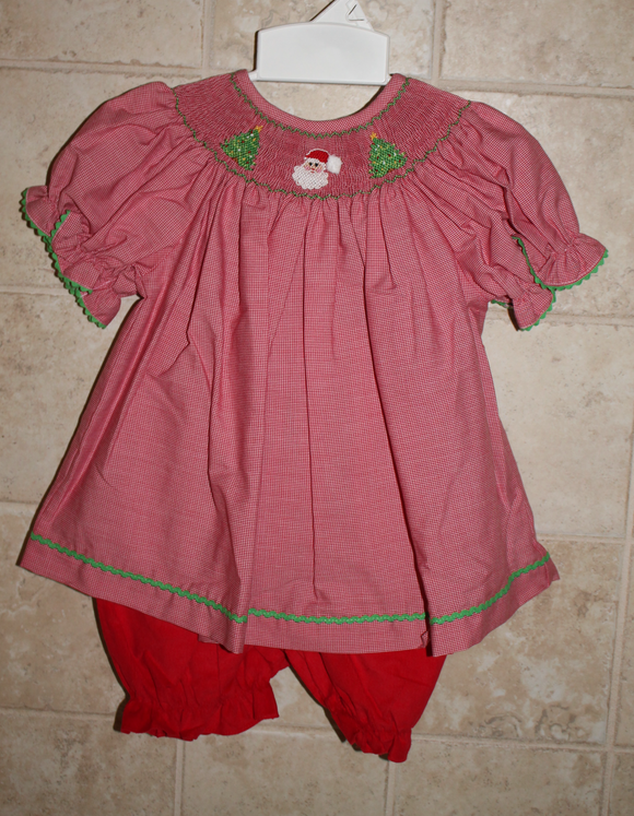A Red smocked Christmas bloomer set