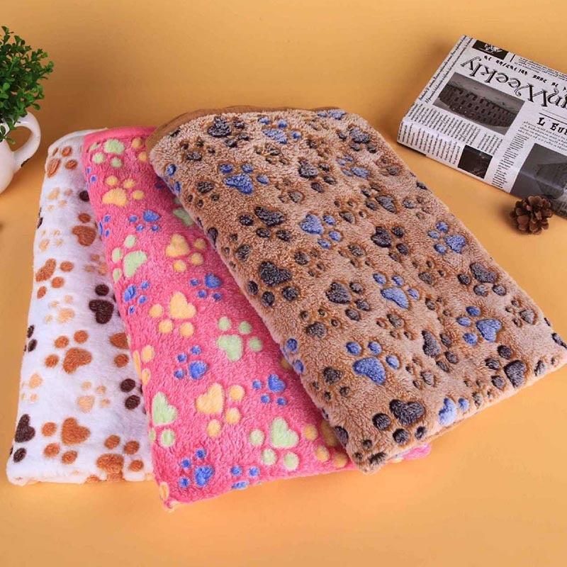 Coral Velvet Paw Print Blanket for Cat and Dog