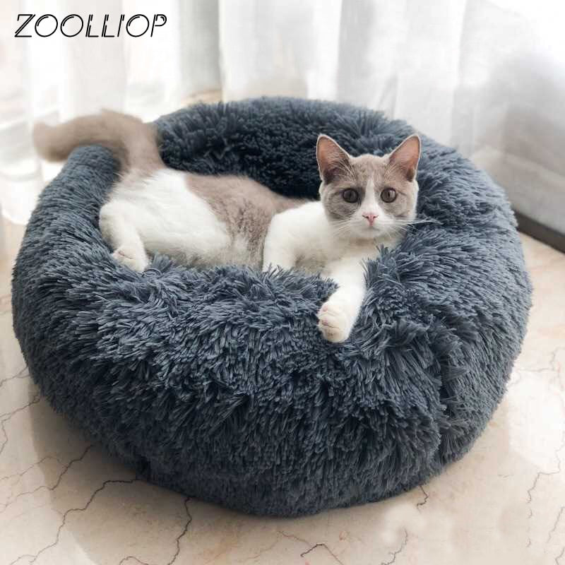 Round Plush Cat Bed House Soft Long Plush