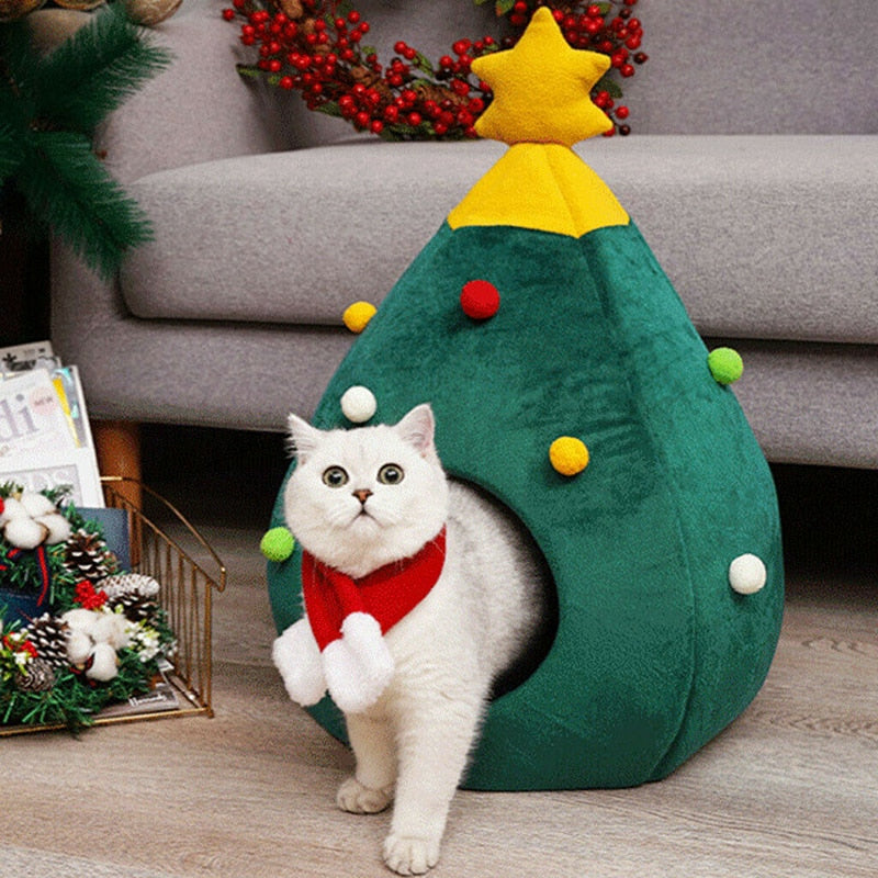 Pet House Cat Christmas Tree Shape Bed