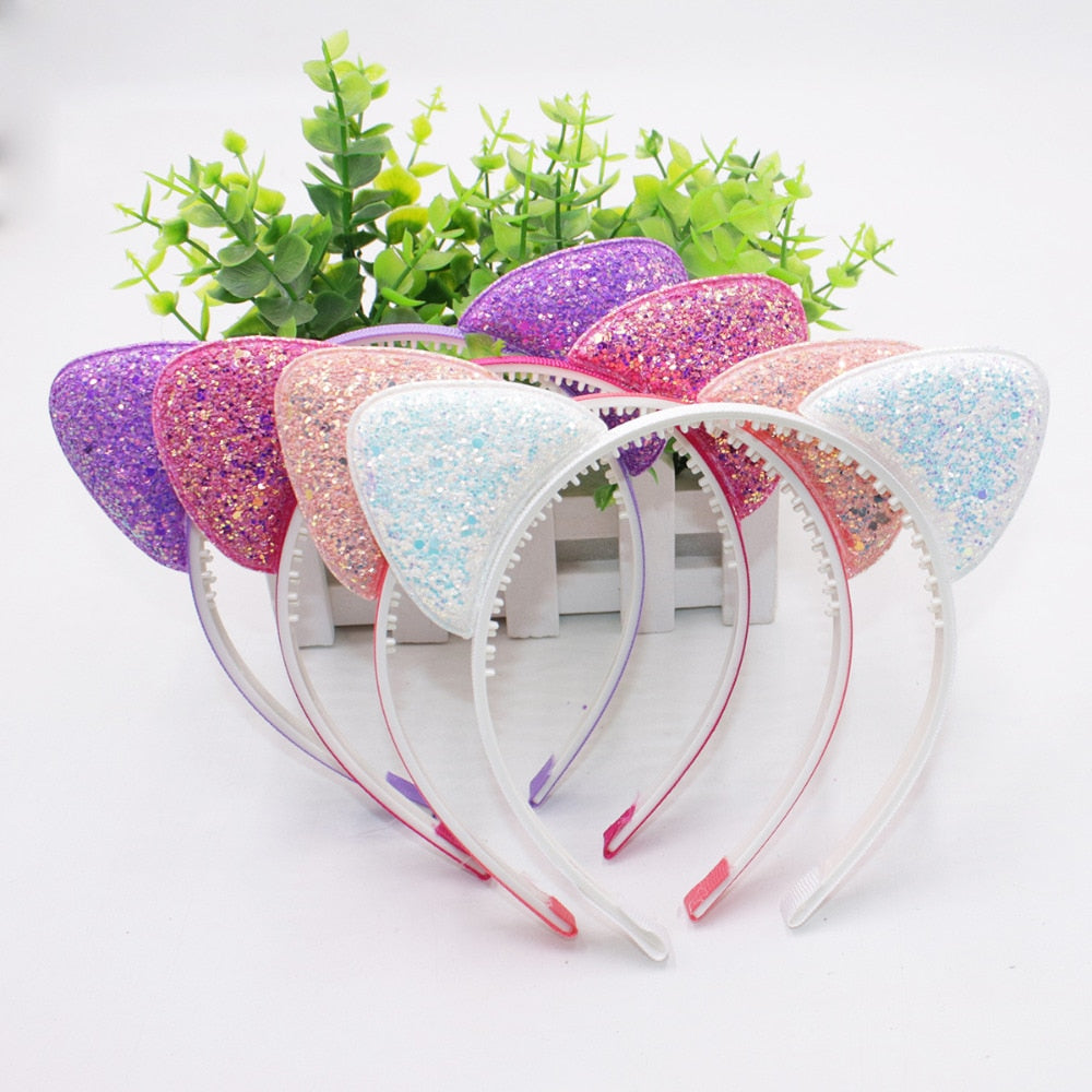 Cute Shiny Sequins Cat Ears Headband For Girl