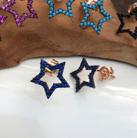 Pavé Rose Gold Star Earrings