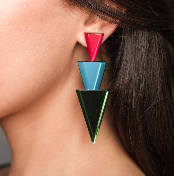 Silvia Rossi Chevron Statement Earrings