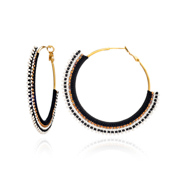 Azuni // Lynx Beaded Hoop Earrings