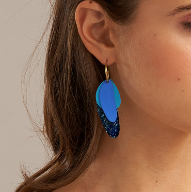 Daisy Blue Petal Earrings by Sibilia