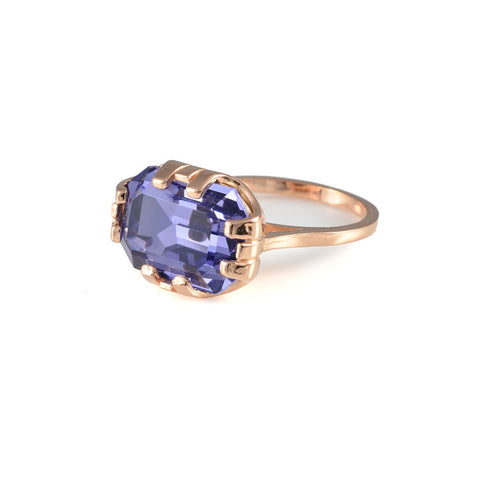 Cabinet Studios Tanzanite & Rose Gold Beetle Ring