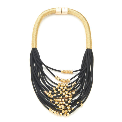 Holst + Lee Black and Gold Multi Layer Statement Necklace