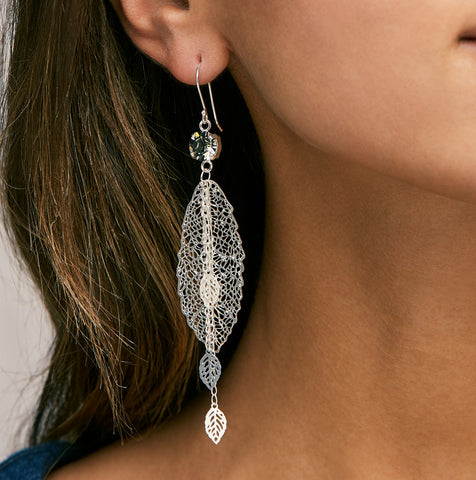 Inbar Shahak Silver Crystal Leaf Earrings