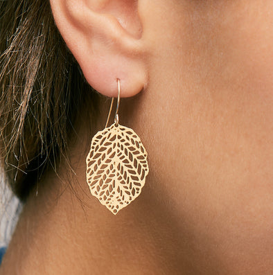 Inbar Shahak Mini Gold Leaf Earrings