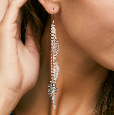 Inbar Shahak Strass Silver Leaf Earrings
