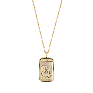 Wanderlust + Co L'Imperatrice Gold Tarot Necklace