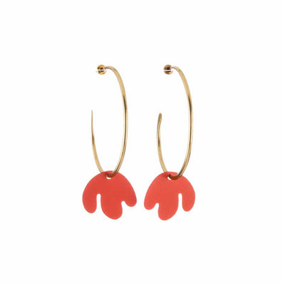 Sibilia Large Coral Leaf Earrings