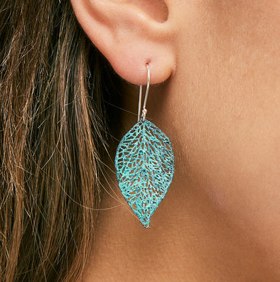Inbar Shahak Large Turquoise Leaf Earrings
