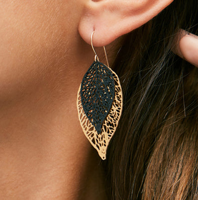 Monochrome black and gold leaf earrings